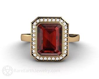 Red Garnet Ring Emerald Cut Bezel Diamond Halo Garnet Engagement Ring 14K or 18K Gold January Birthstone Red Gemstone Ring