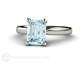 Aquamarine Engagement Ring Aquamarine Ring Solitaire Aqua Ring March Birthstone  14K or 18K Gold or Platinum