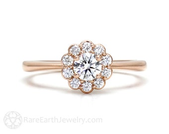 Rose Gold Diamond Engagement Ring Halo Cluster 14K Custom GIA Certified