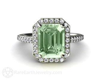 Green Amethyst Engagement Ring Diamond Halo Amethyst Ring 14K 18K Gold or Palladium