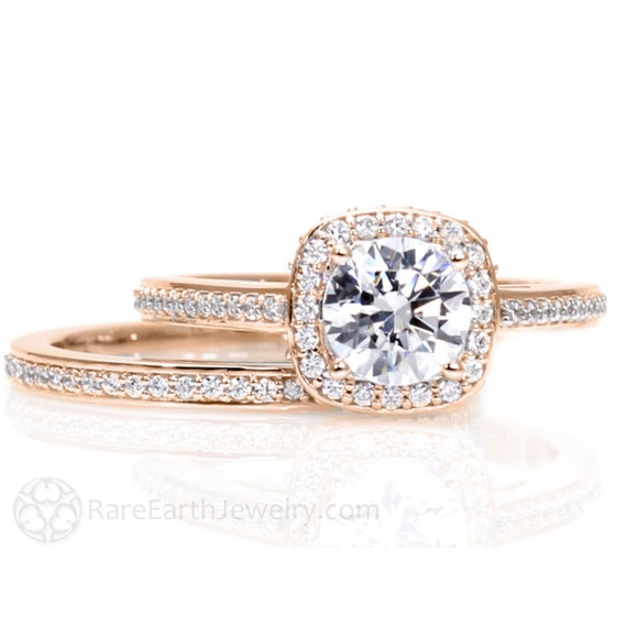Rose Gold Moissanite Engagement Ring Wedding Set Cathedral Diamond Halo 14K  18K Gold Conflict Free Bridal