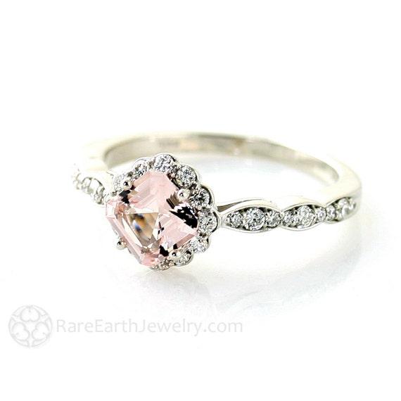 14K Asscher Morganite Diamond Wedding Set Engagement Ring & Band Custom Bridal Jewelry