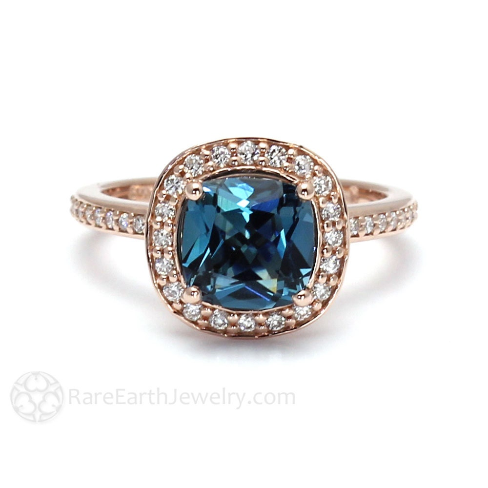 London Blue Topaz Ring London Blue Halo Topaz Cushion