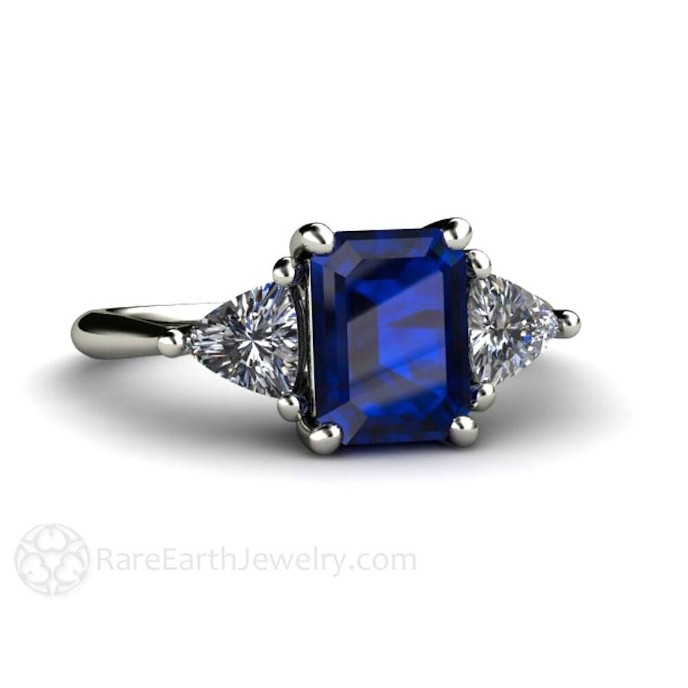 14k blue sapphire 3 stone engagement ring vintage blue. Black Bedroom Furniture Sets. Home Design Ideas