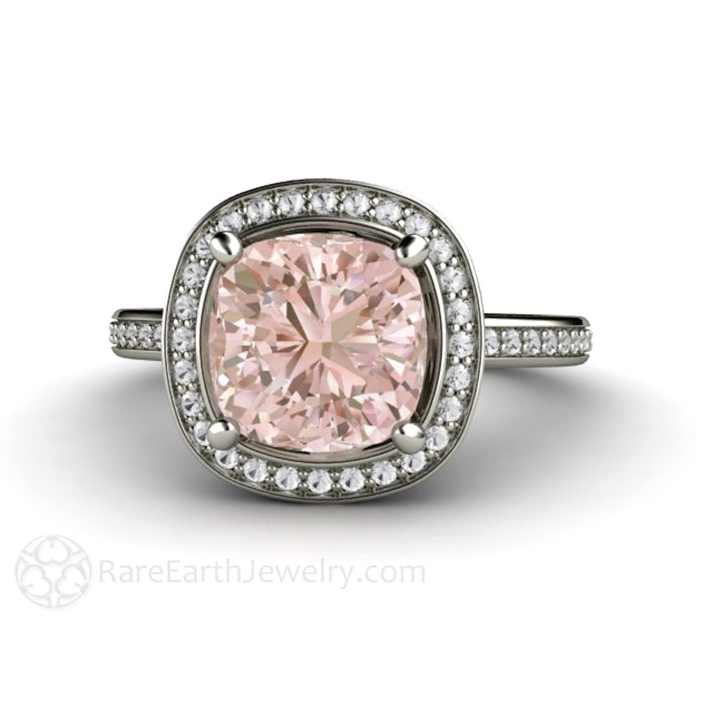 14K 2ct Cushion Morganite Engagement Ring Diamond Halo Fleur