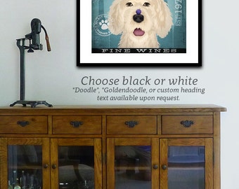 Labradoodle Wine Company vintage style dog artwork giclee archival print by stephen fowler Pick A Size