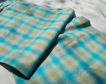 Beautiful Vintage Shirting Fabric 50s loomed woven Knubby Plaid 35 wide Turquoise and Tan 5 yards