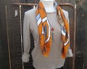 Vintage Vera scarf 60s Silk Orange bold modern print Gray Navy Brown sunbursts made in Japan scarf