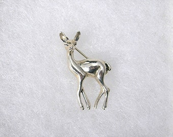Sterling Deer Brooch, Beau Sterling Silver, 3-Dimensional, 1960s Fine Jewelry, Figural Pin, 1.5 Inches Tall, Christmas Jewelry