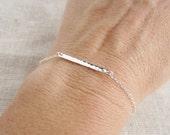 Hammered bar bracelet, Thin silver bracelet, stacking bracelet, sterling silver, layering bracelet, delicate, simple bracelet, everyday