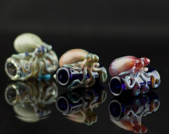 Octopus Dread Bead Hand Blown in You Choose the Color, Made to Order