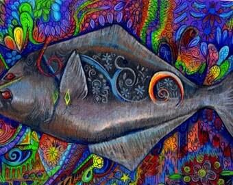 original art  drawing 16x20 halibut colorful puffin zentangle