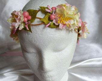 SALE! Flower Hair Garland, Pink Flower Crown, Flower Crown, Bridal Flower Crown, Flower Girl Headband, Flower Hair Wreath, Flower Halo
