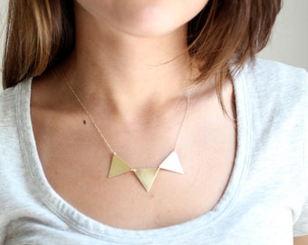 Geometric Gold Triangle Bunting Necklace