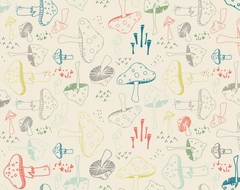 Hello Bear Mushroom fabric by Bonnie Christine for Art Gallery Fabric, Ivory fabric,  Morel Grove in Powder- You Choose the Cut