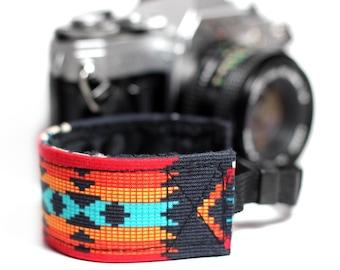 Wrist strap for DSLR Cameras - Aztec Orange with Black Minky