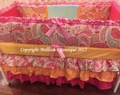 Custom Bright Hot Pink & Aqua Paisley Posh Ruffled with 3 Tier Crib Skirt Luxury Crib Bedding Set Made To Order