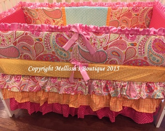 Custom Bright Hot Pink & Aqua Paisley Posh Ruffled with 3 Tier Crib Skirt Luxury Crib Bedding Set Made To Order