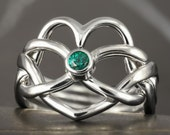 Emerald heart puzzle ring in sterling silver  - More options available