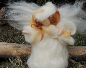 Graduation Fairy Angel - Waldorf-inspired needle felted wool standing doll soft sculpture