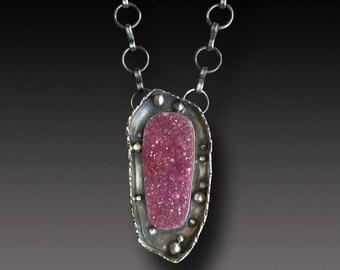Cobalto Druzy Necklace Sterling Silver Raspberry Crystal Natural Druzy  Pendant