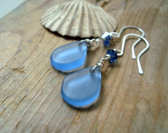 Blue Sea Glass Earrings Summer Fashion Sea Glass Jewelry Bridesmaid Earrings Summer Weddings Recycled Glass Mothers Day Gifts