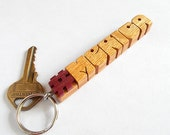 "HashTag ""#"" Keychain - Oak and Purpleheart - Carved to Order"