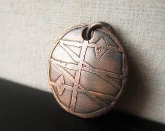Copper Circle Pendant Hammered Oxidized Copper Etched Pendant Item No. 2161