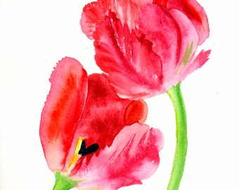 Red Tulips Two Art Fine Art Print Original Watercolor Floral Print Red Pink Green FRAMEABLE ART Giclee Wedding Mother's Day Gift Collectable
