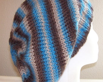 Wool Slouch Hat - Slouchy Knit Beanie - Knitted Dreadlock Tam - Hand Knit Toque - River Rock