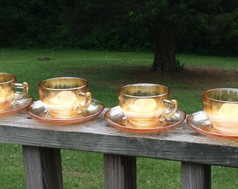 Jeanette Carnival glass Marigold Moderne Set of 4 Tea cups and saucers