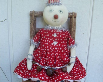 Jingle Belle, A Primitive, Folk Art, Snow girl, Whimsy, doll, E Pattern by Whimsical Endeavors