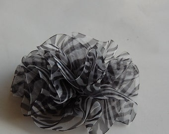 Zebra Stripes Sheer Rosette Black White Hair Bow Clip