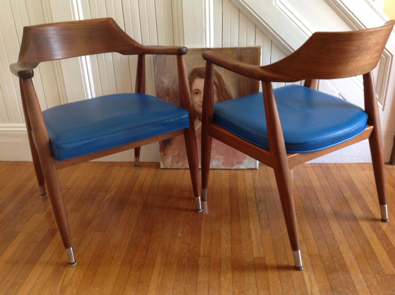 Four danish modern arm chairs mid century jasper chair co for Mid century danish modern chair