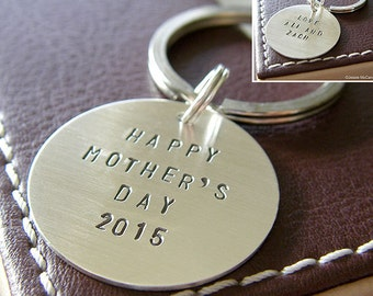 Custom Keychain - Personalized Hand Stamped Sterling Silver Key Chain - Double-Side stamping - Perfect Gift for Mother's Day