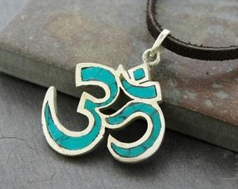 Brass Om Turquoise Pendant