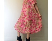 Sale Red India  Floral Cotton Boho Short Simple Loose Summer Dress ( BF 02)
