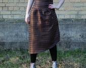 Brown steampunk skirt, diamonds pattern high waist corset skirt with lacing, cosplay skirt, steampunk skirt, brown skirt MASQ