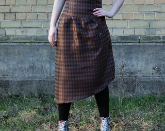 Brown steampunk skirt, diamonds pattern high waist corset skirt with lacing, cosplay skirt, steampunk skirt, brown skirt MASQ