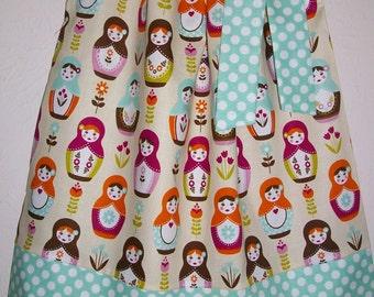 Pillowcase Dress Girls Dress Little Matryoshka Riley Blake Aqua and Cream Russian Dolls Babushka Summer dress baby dress toddler dress