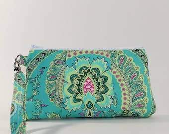 Large Wristlet - Padded Zipper Pouch - Green Paisley