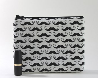 Divided Cosmetic Bag - 2 Compartments - Mustache