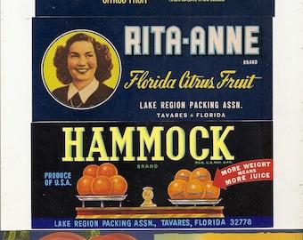 14 Different Old Vintage FRUIT Produce CRATE LABELS