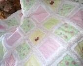 """Baby Girl Rag Quilt, Handmade, """"Flutterby"""" 3D Butterflies, Pastels"""