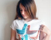 Birdland Hand Stamped Mid Century Birds Cotton T-Shirt/ Woman SIZE S