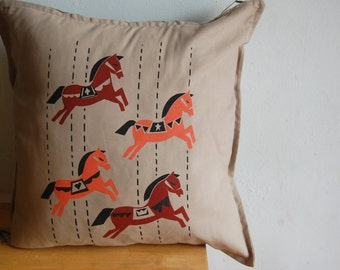 Hand Screenprinted Pillow Cover, Carrousell, 100%Cotton