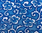 Vintage Cotton Fabric Blue and White Floral Print Quilting Sewing 1970s material over 1.4 metres