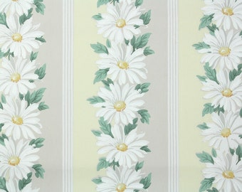 1940s Vintage Wallpaper by the Yard - Floral Vintage Wallpaper White Daisy Stripe