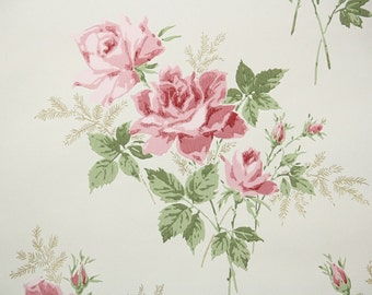 1960s Vintage Wallpaper Pink Rose Bouquets