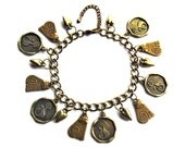 Antique Gold Charm Bracelet Cats and Hearts
